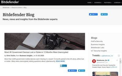 En recension av bloggen Bitdefender Cybersecurity blog